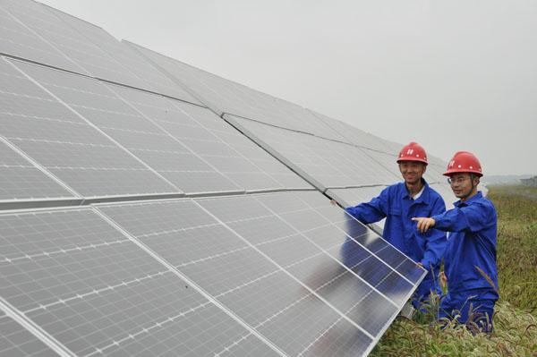 云南肇东市德昌乡盐碱地建起光伏发电站